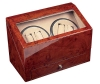 4+4 Burlwood Quad Watch Winder Box AC/DC  w/ Drawer